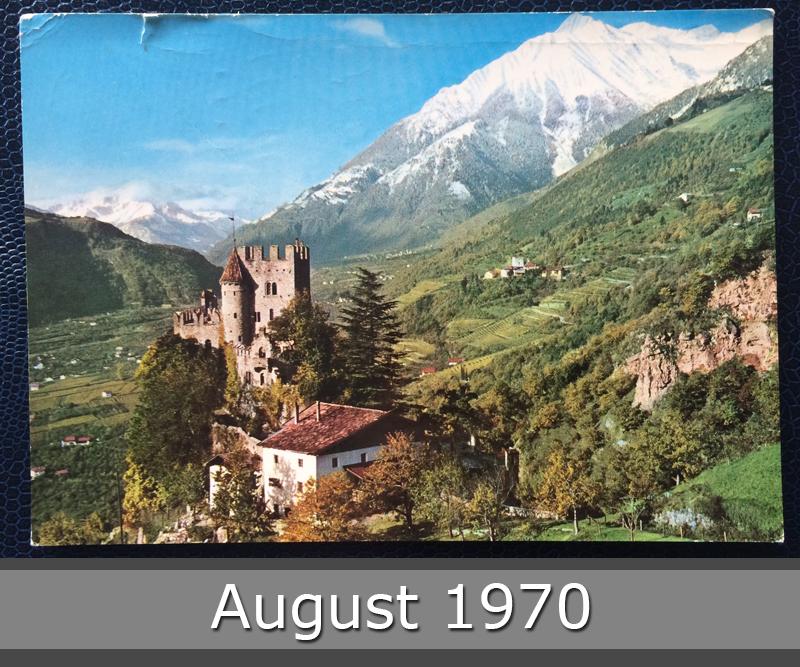 Project Postcard August 1970 Meran Castle Fontana Schloss Brunnenburg front