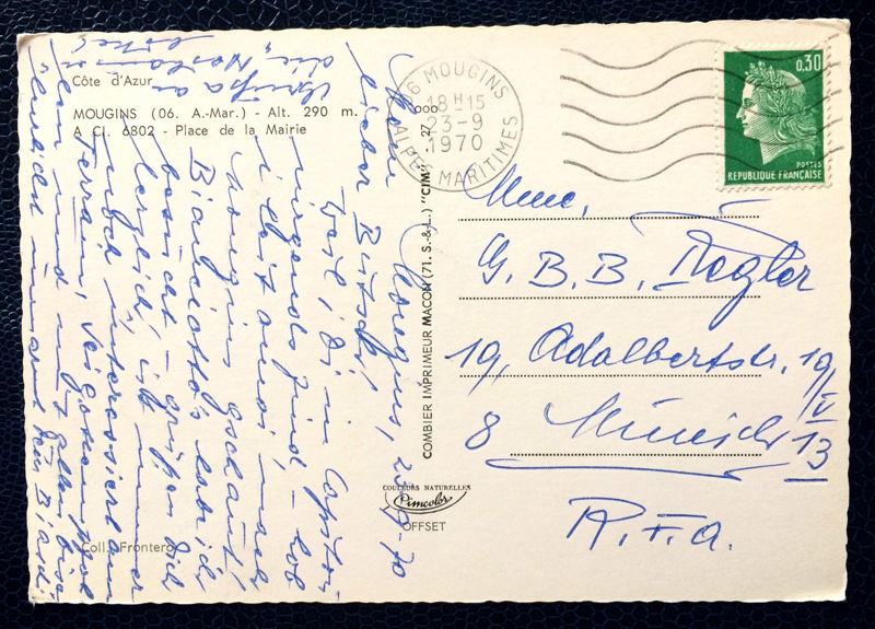 Project Postcard September 1970 Mougins Cote dAzur stamp