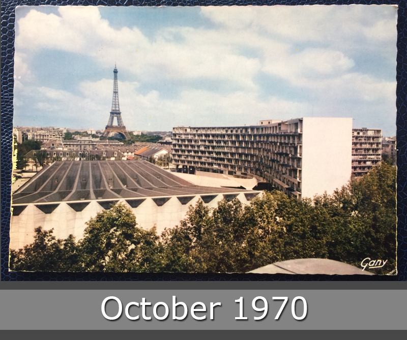 Project Postcard October 1970 Paris Tours Eiffel and Unesco building front