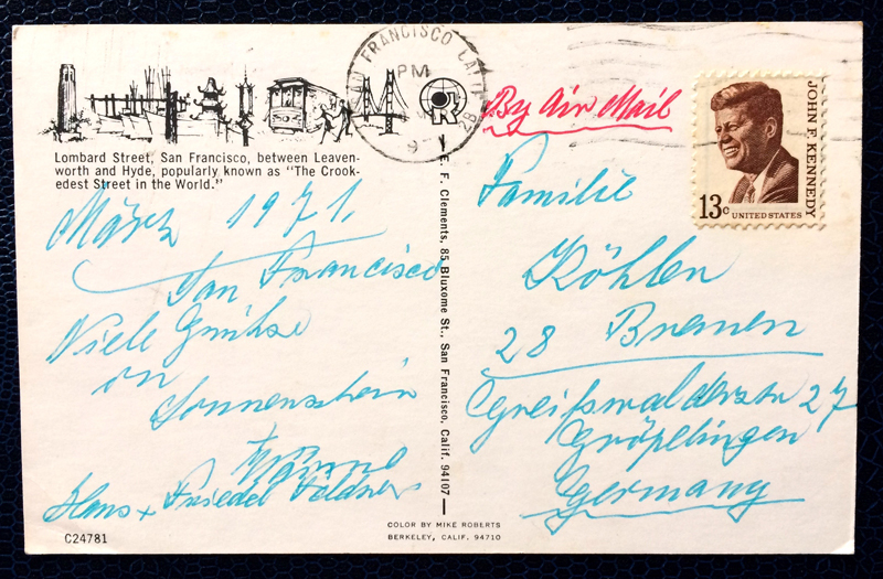 Project Postcard March 1971 San Francisco Lombard Street stamp