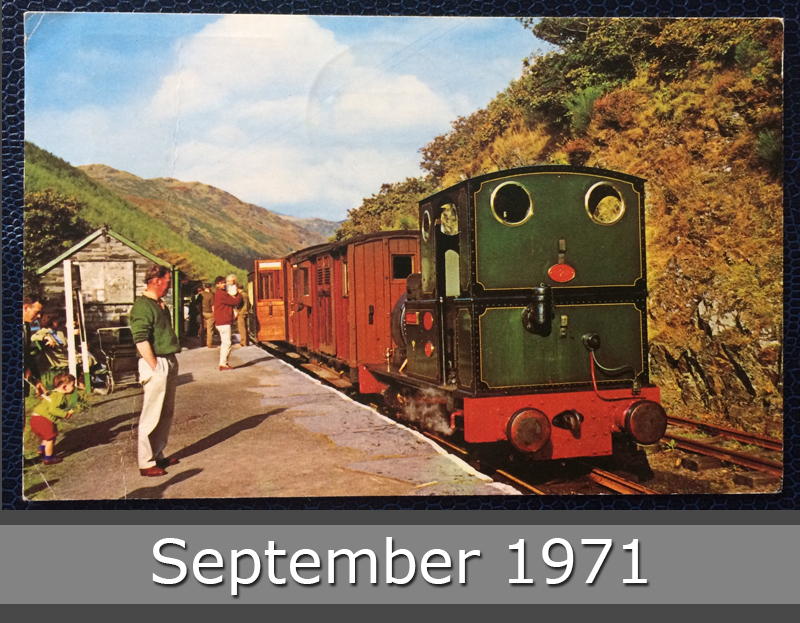 Project Postcard September 1971 Taly Y Llyn railway train front