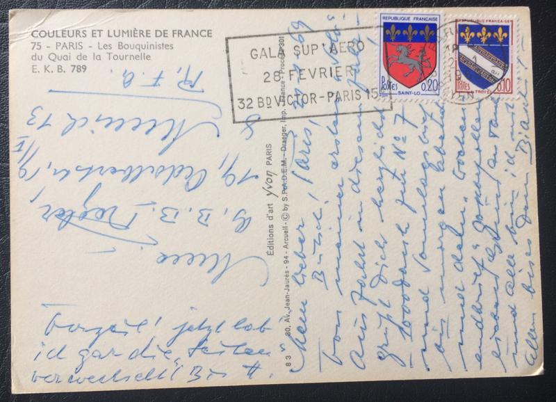 Project Postcard January 1969 January Paris Les Bouquinistes La Seine front back
