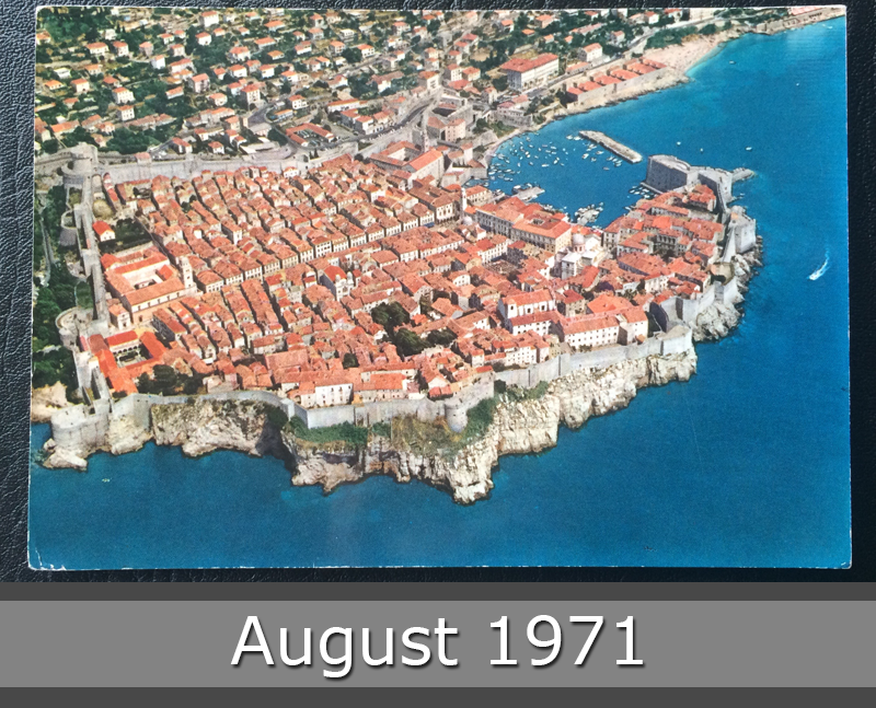 Project Postcard August 1971 Dubrovnik Jugoslavija from a bird's eye view front