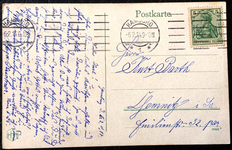 Project Postcard February 1914 Hamburg Germany Alster-Arkaden and Reesendamm back