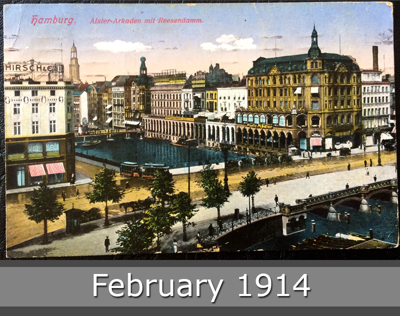 Project Postcard February 1914 Hamburg Germany Alster-Arkaden and Reesendamm front