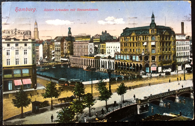 Project Postcard February 1914 Hamburg Germany Alster-Arkaden and Reesendamm