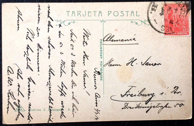 Project Postcard March 1914 Buenos Aires Argentina Avenida de Mayo back