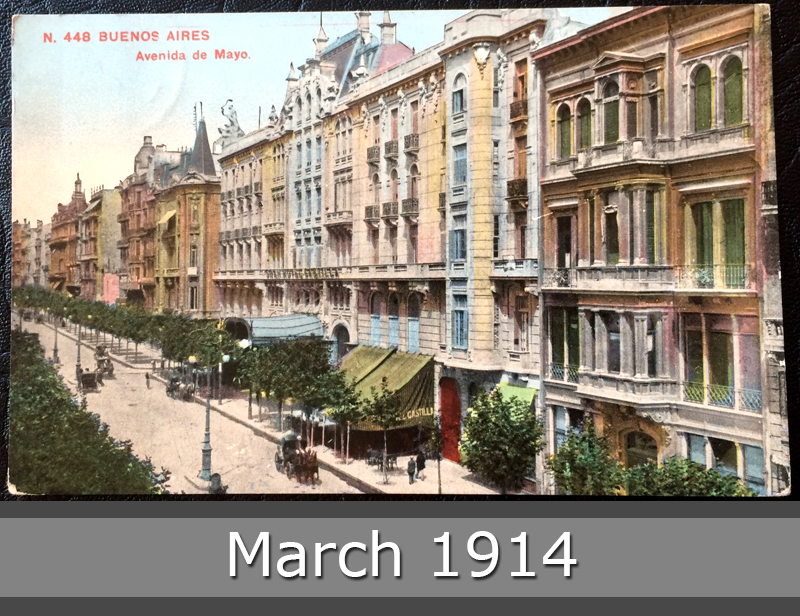 Project Postcard March 1914 Buenos Aires Argentina Avenida de Mayo front