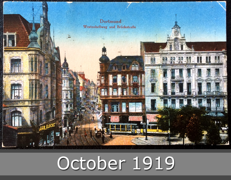 Project Postcard October 1919 Dortmund Westenhellweg and Brueckstraße front
