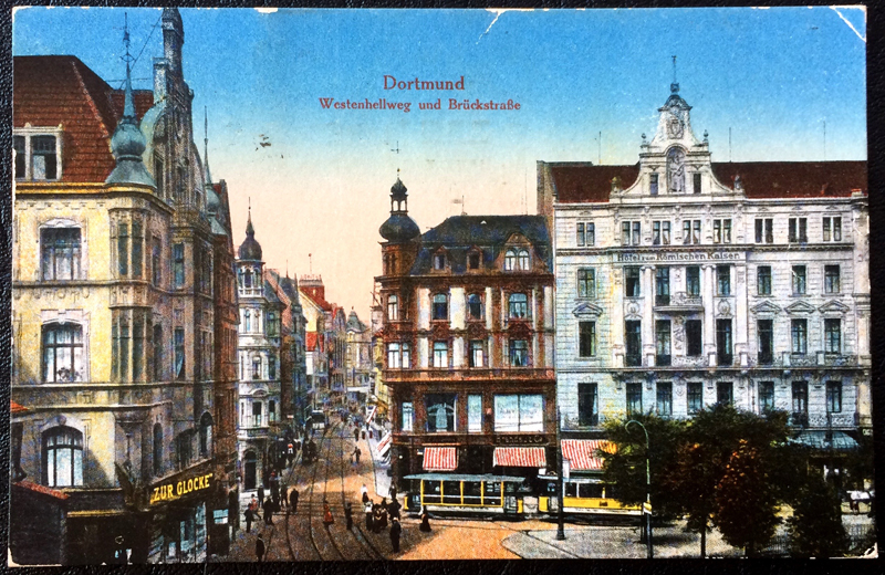 Project Postcard October 1919 Dortmund Westenhellweg and Brueckstraße