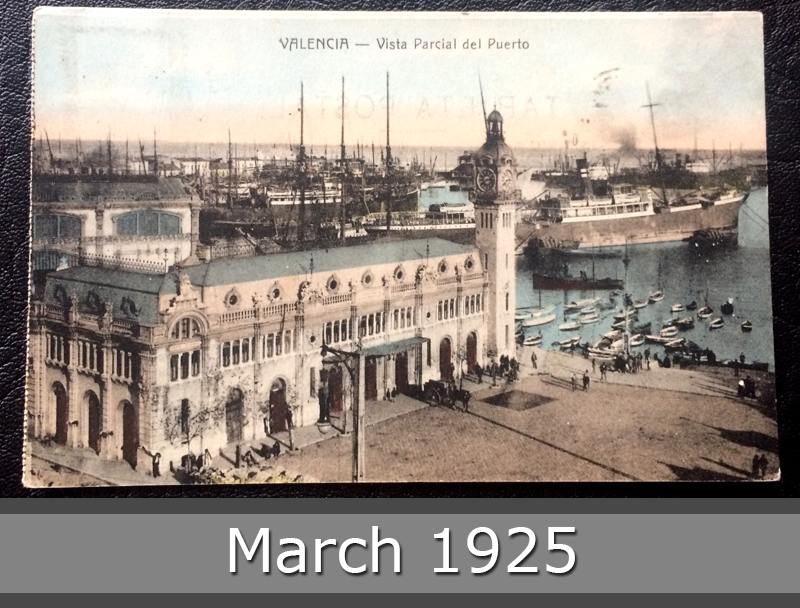 Project Postcard March 1925 Valencia Seaport front