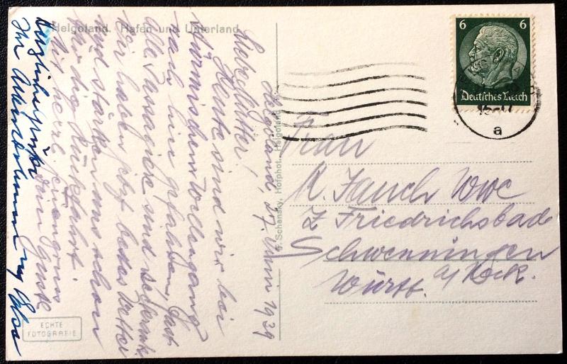 Project Postcard June 1939 Helgoland port back