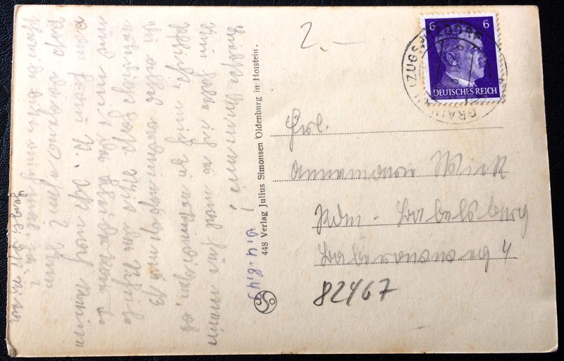 Project Postcard August 1940 Garmisch-Partenkirchen Bavaria Alps Wankhaus back