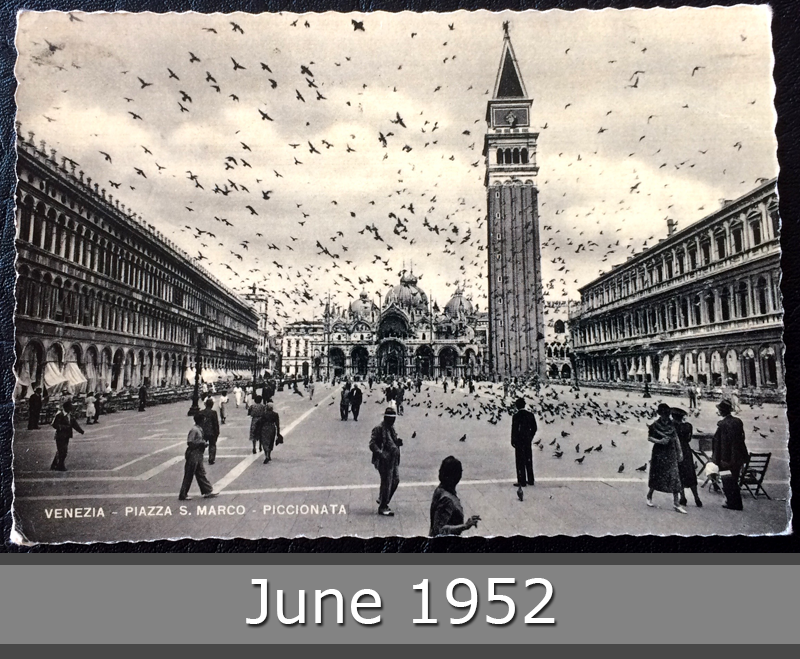 Project Postcard June 1952 Venice Piazza San Marco front