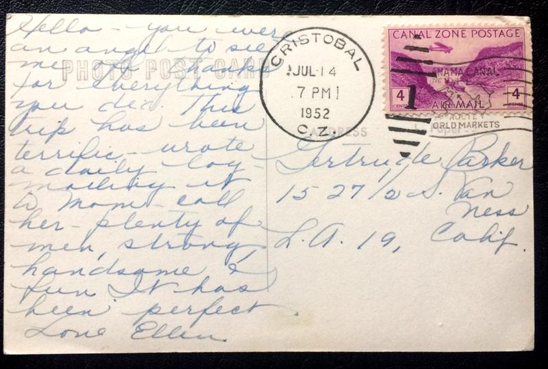 Project Postcard July 1952 Canal Zone Panama Avenida Bolivar in Colon back