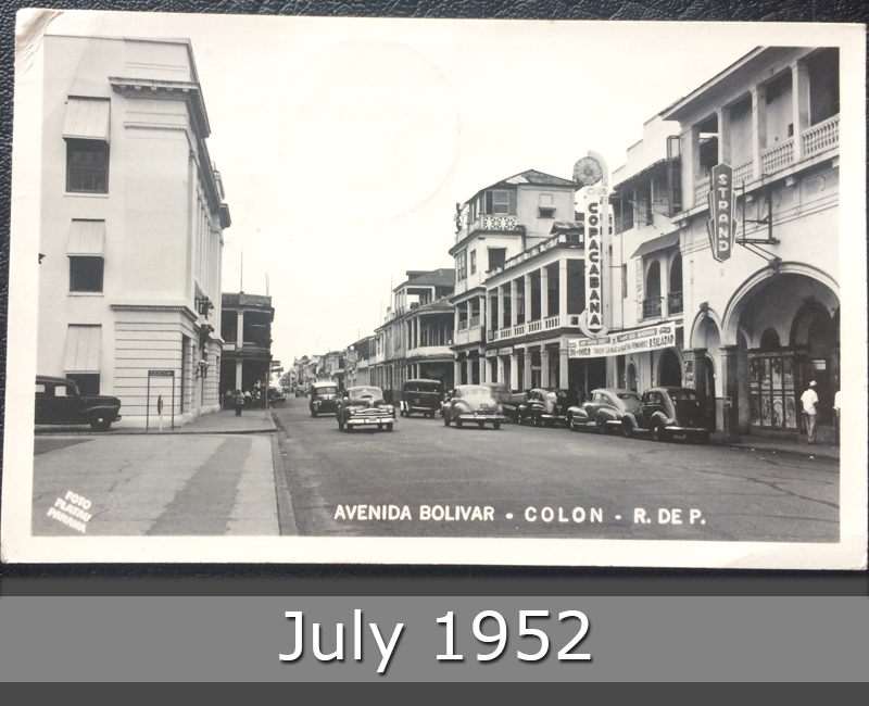 Project Postcard July 1952 Canal Zone Panama Avenida Bolivar in Colon front