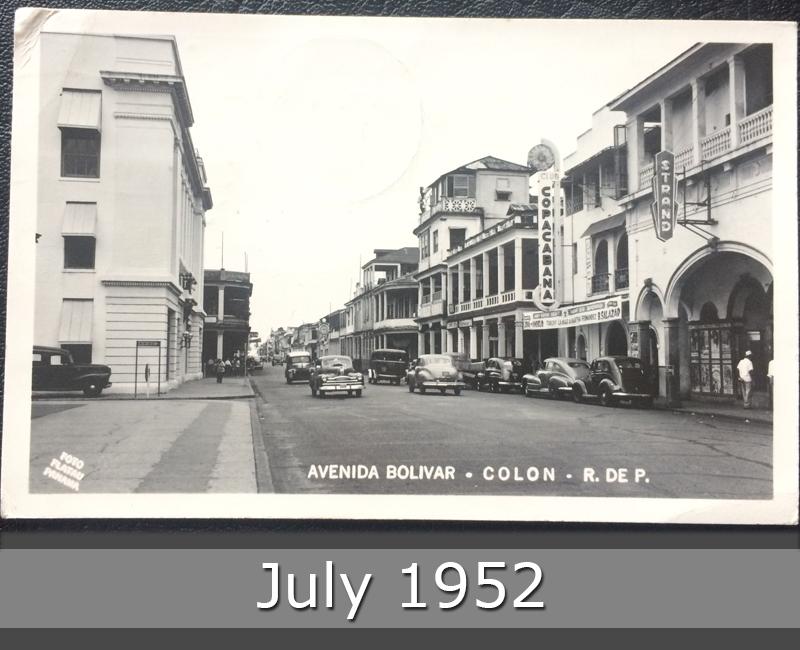Project Postcard July 1952 Canal Zone Panama Avenida Bolivar in Colon front