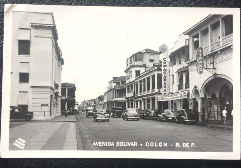 Project Postcard July 1952 Canal Zone Panama Avenida Bolivar in Colon