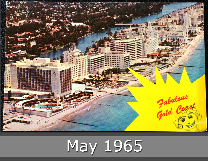 Project Postcard May 1965 Miami Beach ocean front picture