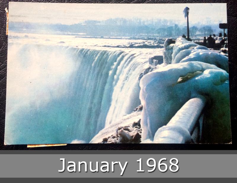 Project Postcard January 1968 Horseshoe Falls in Winter Canada front