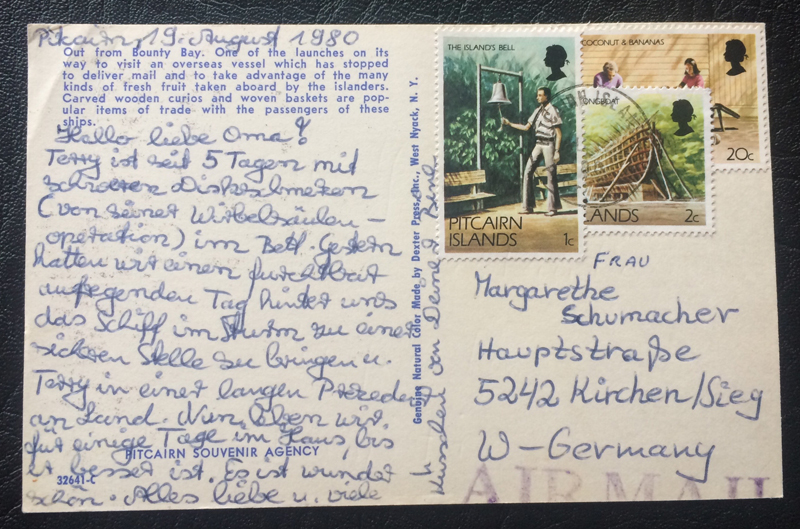 Project Postcard August 1980 out from the Bounty Bay Pitcairn Islands back