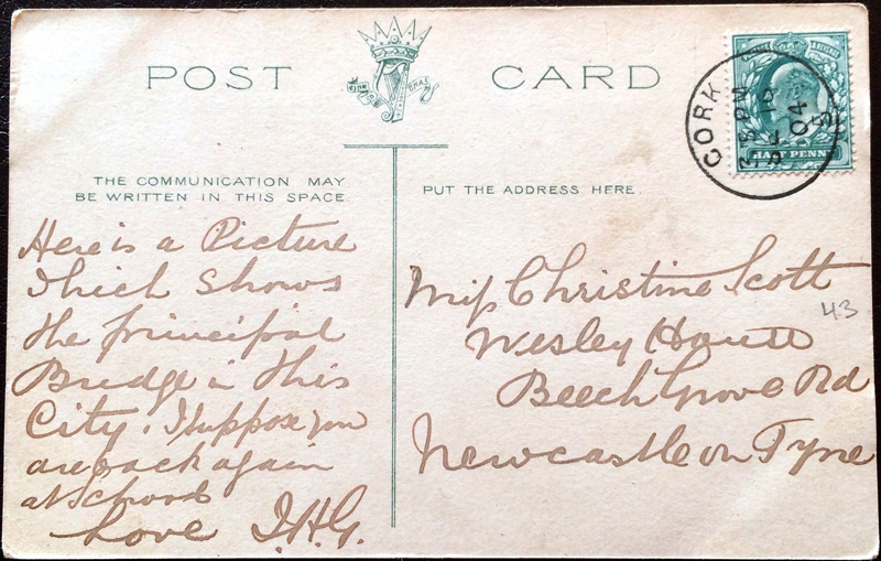 Project Postcard September 1904 Cork St. Patricks Bridge Great Britain UK back