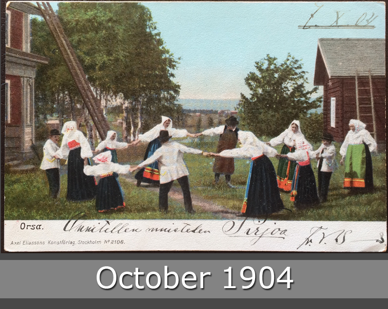 Project Postcard October 1904 Orsa Sweden Dancer front