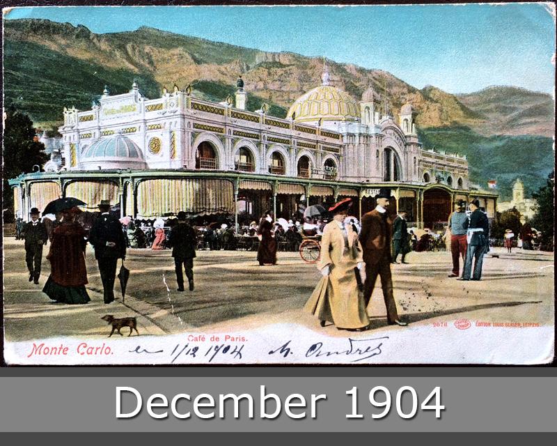 Project Postcard December 1904 Monaco Monte Carlo Cafe de Paris front