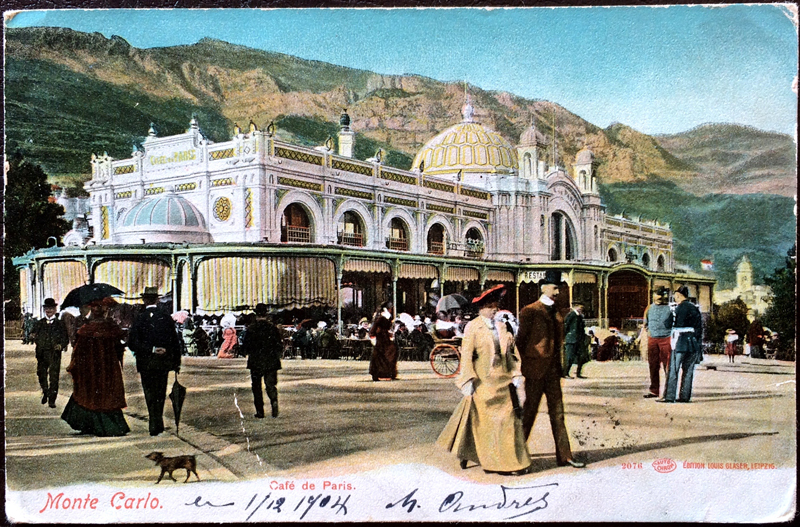 Project Postcard December 1904 Monaco Monte Carlo Cafe de Paris