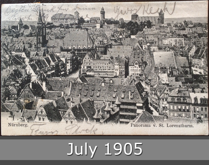 Project Postcard July 1905 Nuremberg Nürnberg with Castle Panorama St. Lorenzturm front