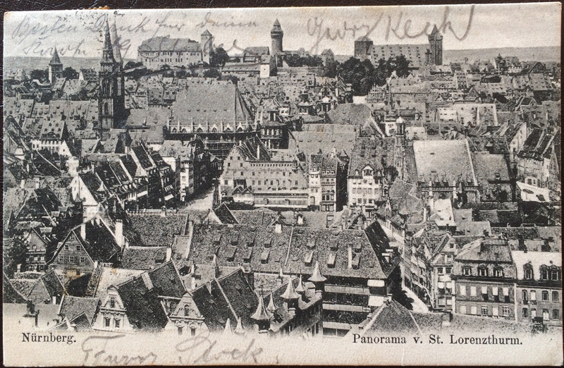 Project Postcard July 1905 Nuremberg Nürnberg with Castle Panorama St. Lorenzturm