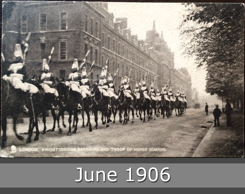 Project Postcard June 1906 London Knightsbridge barracks and troop of horse guarads front