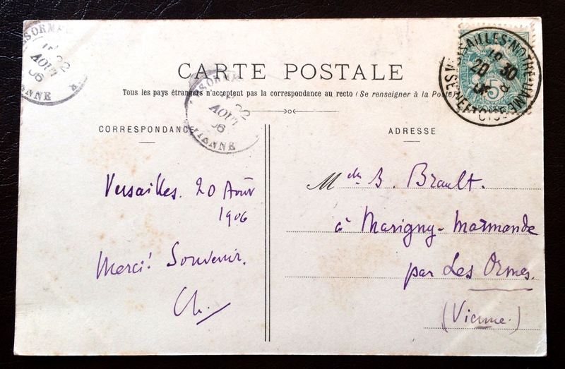 Project Postcard August 1906 Versailles France Bassin de Latone et Tapis-Vert back