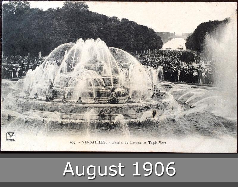 Project Postcard August 1906 Versailles France Bassin de Latone et Tapis-Vert front