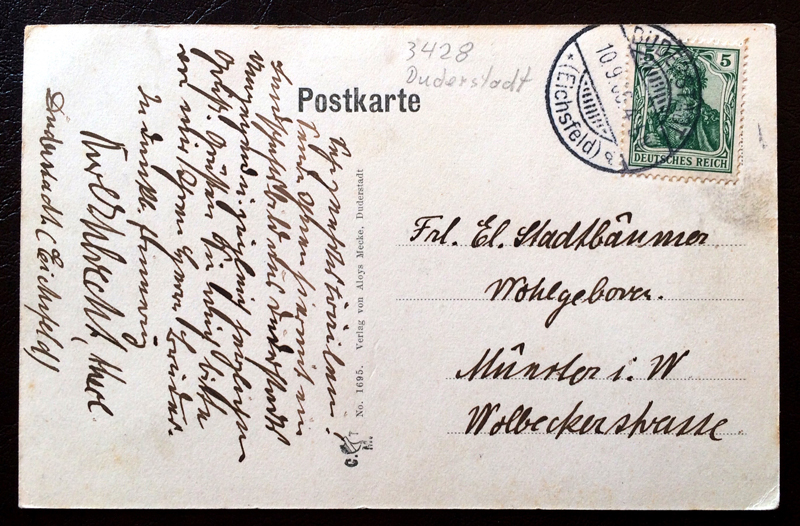 Project Postcard September 1906 Ohmgebirge Wintzingeröder Dorfstrasse mit Schloss Bodenstein back