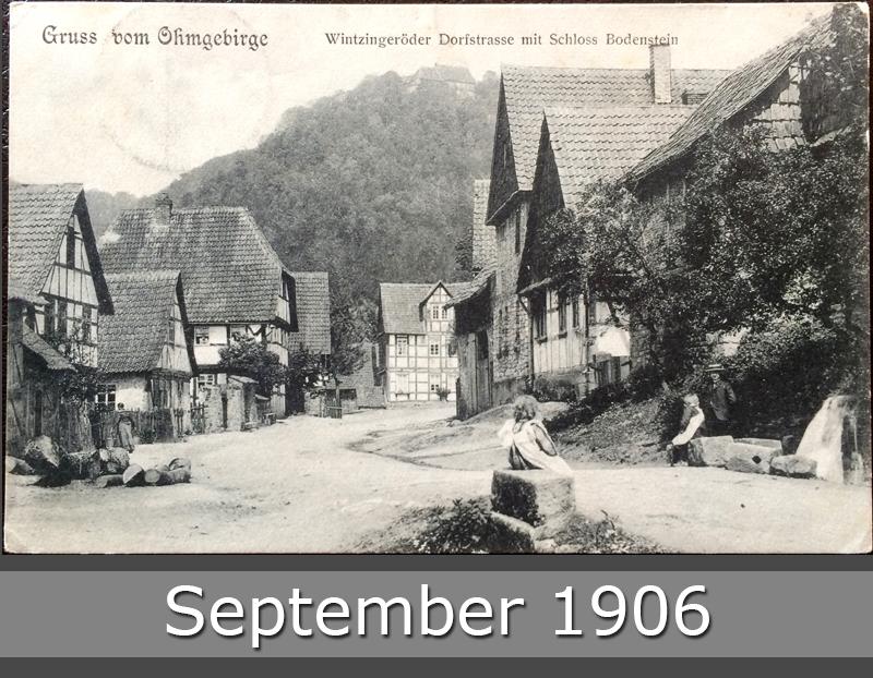 Project Postcard September 1906 Ohmgebirge Wintzingeröder Dorfstrasse mit Schloss Bodenstein front