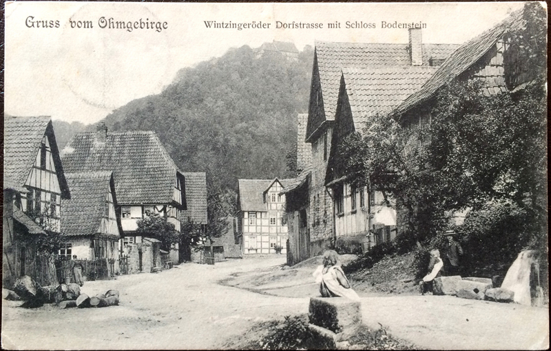 Project Postcard September 1906 Ohmgebirge Wintzingeröder Dorfstrasse mit Schloss Bodenstein