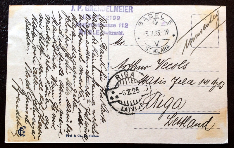 Project Postcard November 1925 Zürich Switzerland back