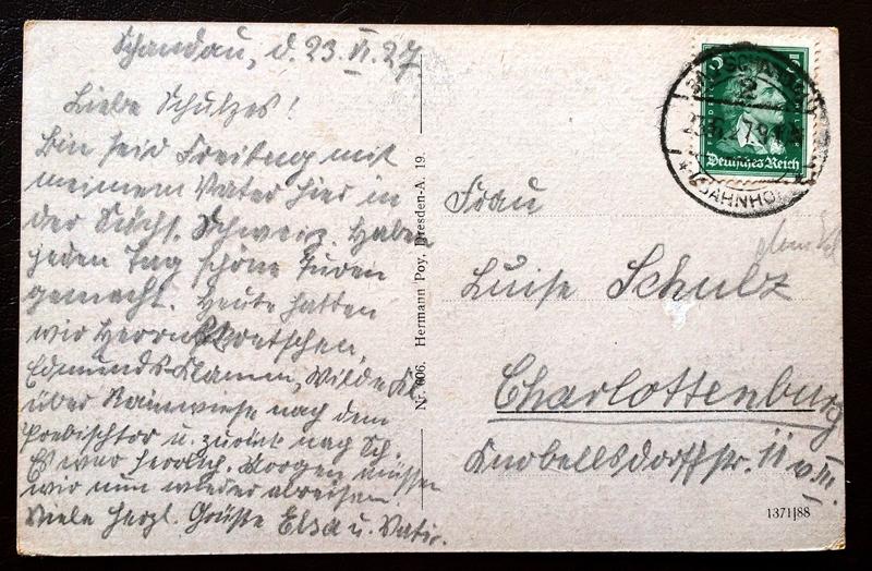 Project Postcard June 1927 Prebischtor Böhmische Schweiz back