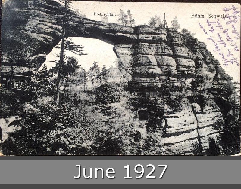 Project Postcard June 1927 Prebischtor Böhmische Schweiz front