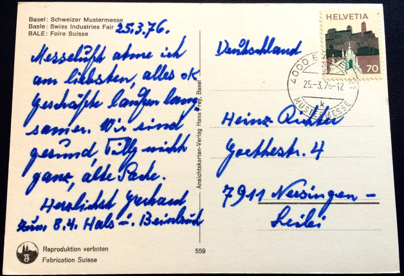 Project Postcard March 1976 Basel Switzerland street with tram back