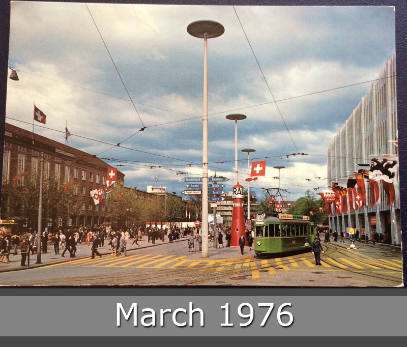 Project Postcard March 1976 Basel Switzerland street with tram