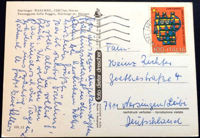 Project Postcard April 1976 Meran Marlinger Waalweg back