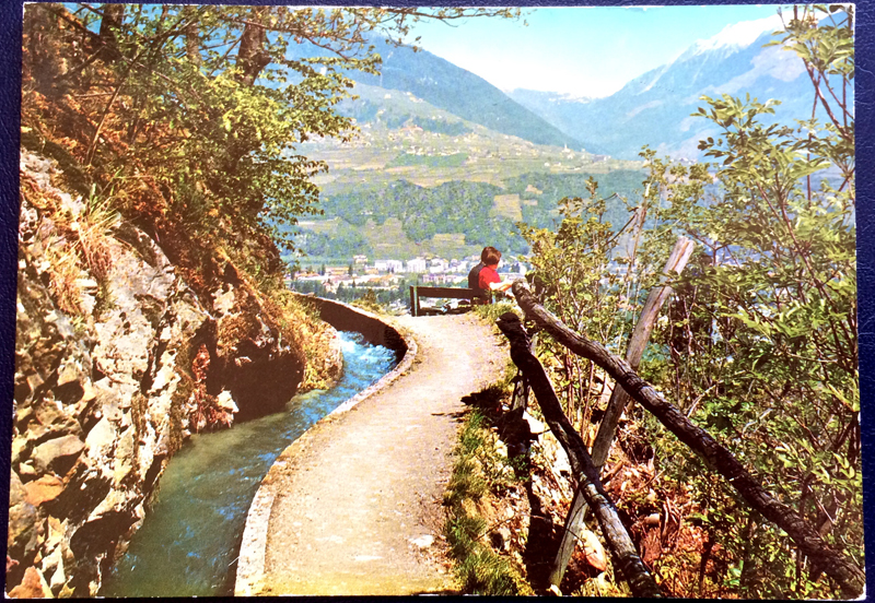 Project Postcard April 1976 Meran Marlinger Waalweg front