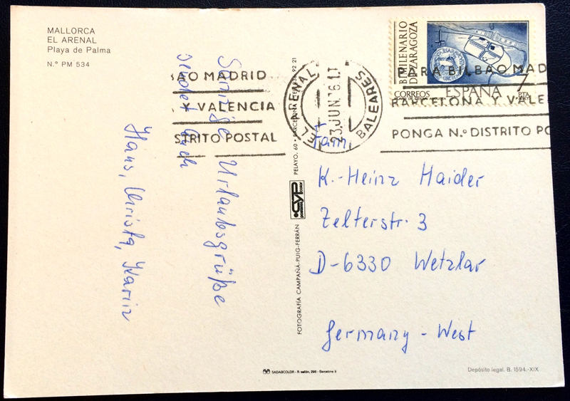 Project Postcard June 1976 El Arenal Mallorca back