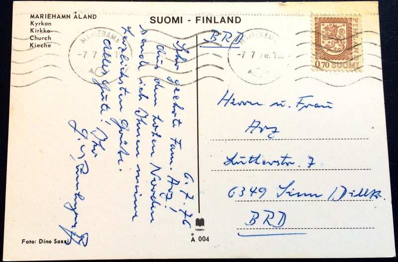 Project Postcard July 1976 Mariehamn Akand Finland back