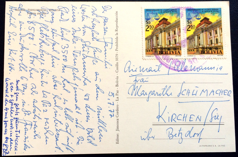 Project Postcard July 1977 Llama in Colombia back