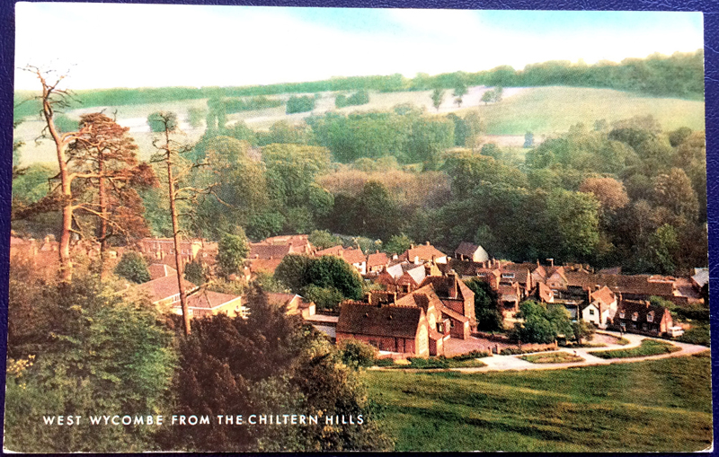 Project Postcard August 1977 West Wycombe from the Chiltern Hills front