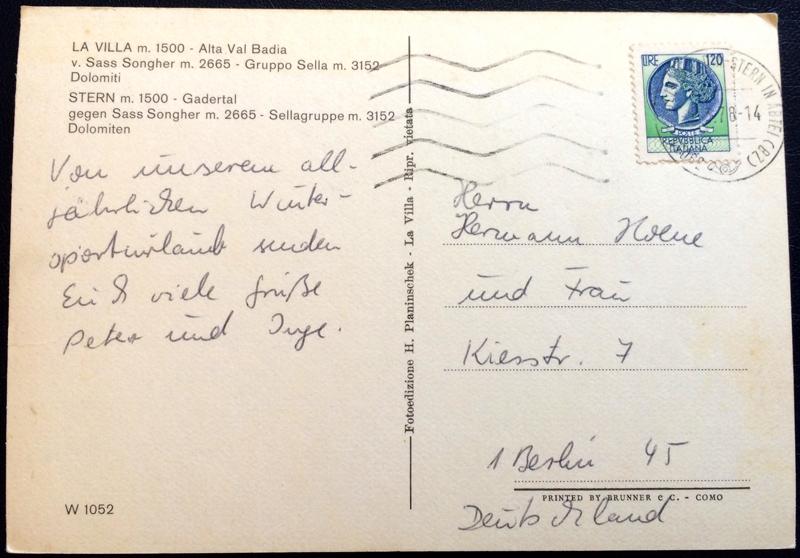 Project Postcard March 1978 Winter in La Villa Alta Val Badia back