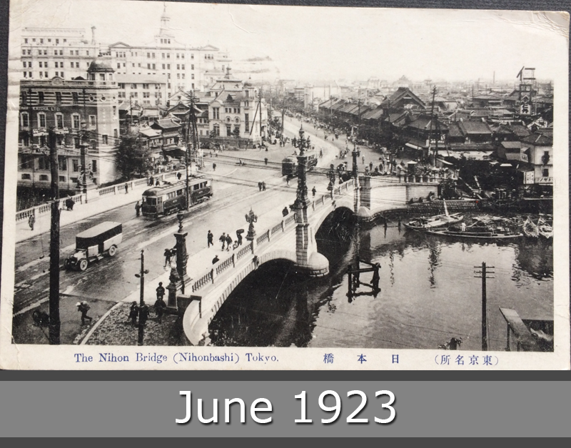 Project Postcard June 1923 - Tokyo Traffic on the Nihon Bridge Nihonbashi front